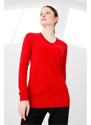 Desen Triko Kadın Sımlı Basıc V Yaka Bluz Kemık Kırmızı